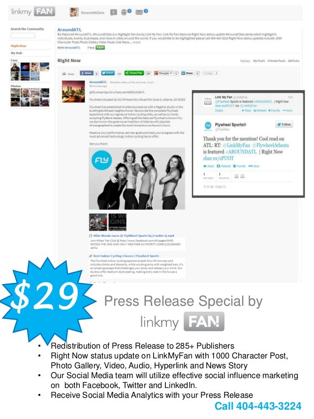 $29 Press Release Special by • Redistribution of Press Release to 285+ Publishers • Right Now status update on LinkMyFan w...