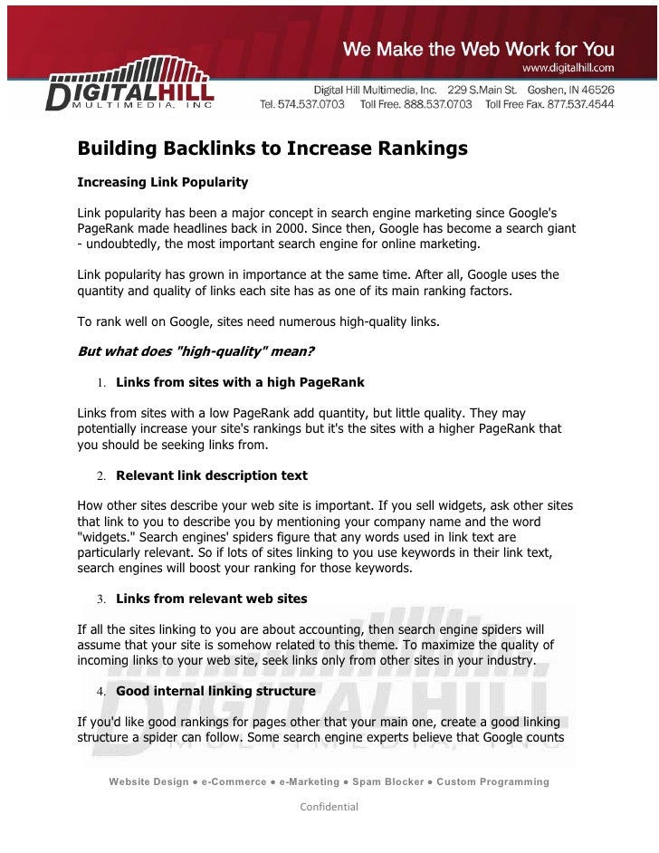 Building Backlinks to Increase Rankings