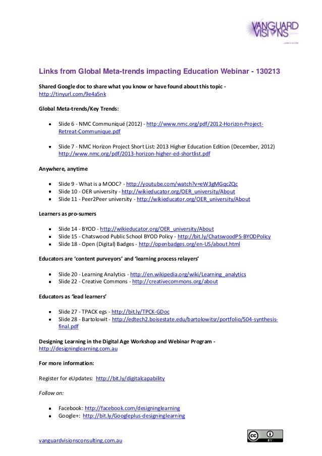Links from Global Meta-trends Impacting Education & Training webinar 130213