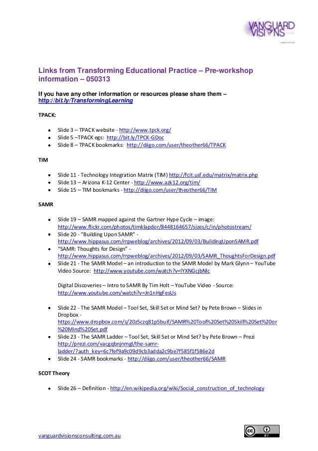 Links from Transforming Educational Practice pre-workshop information 050313