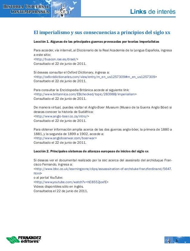Links de interésBloque 1 Historia Universal Contemporánea 1 El imperialismo y sus consecuencias a principios del siglo xx ...