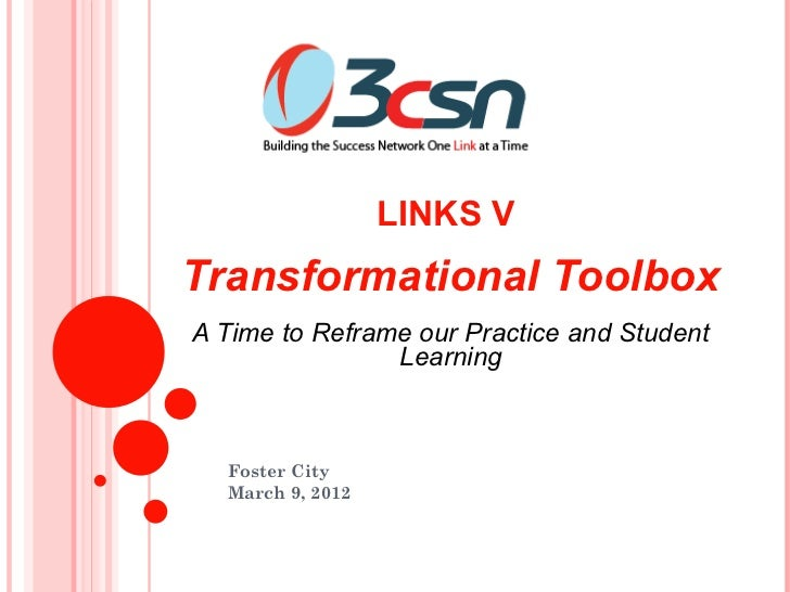 LINKS VTransformational ToolboxA Time to Reframe our Practice and Student                Learning  Foster City  March 9, 2...