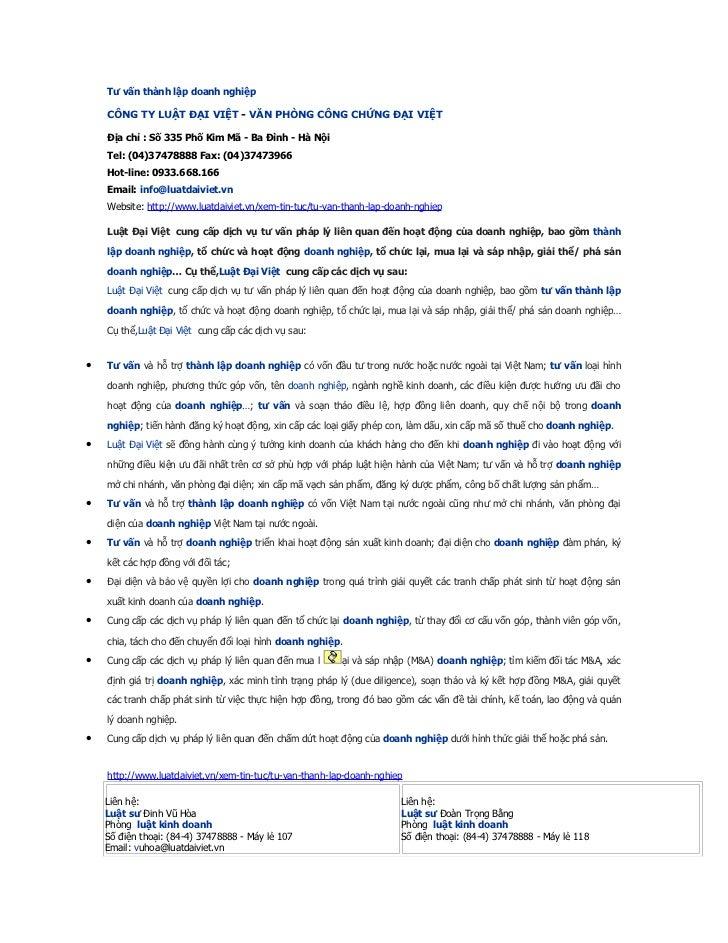 Tư vấn thành lập doanh nghiệp    CÔNG TY LUẬT ĐẠI VIỆT - VĂN PHÒNG CÔNG CHỨNG ĐẠI VIỆT    Địa chỉ : Số 335 Phố Kim Mã - Ba...