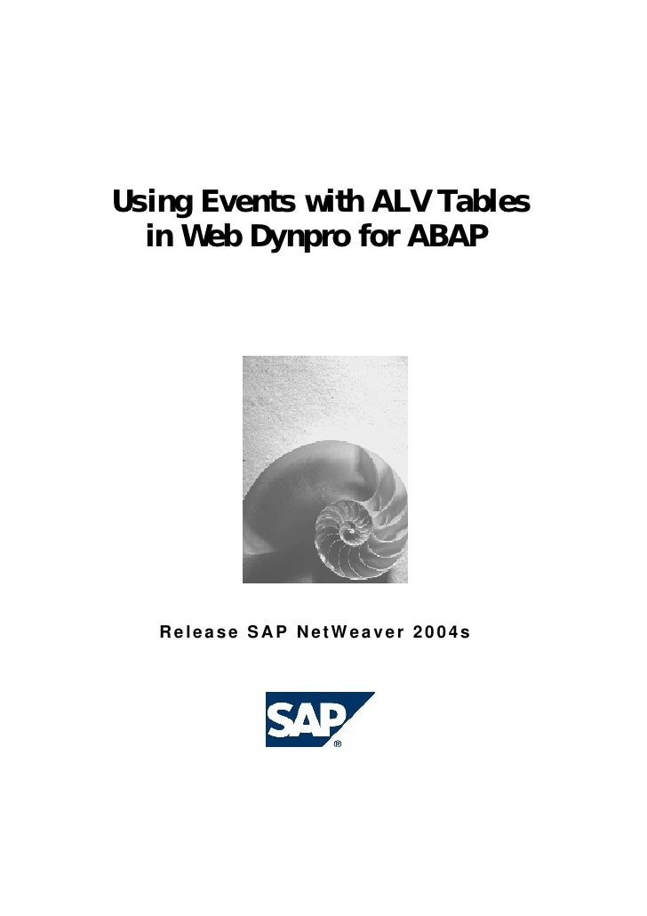 Using Events with ALV Tables  in Web Dynpro for ABAP   Release SAP NetWeaver 2004s