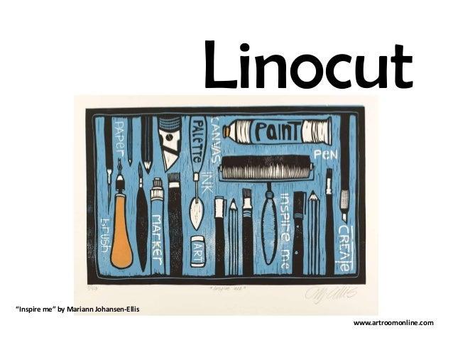 """Linocut """"Inspire me"""" by Mariann Johansen-Ellis www.artroomonline.com"""