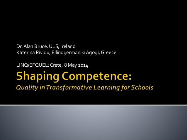 Shaping Competence: Quality on transformative learning for schools