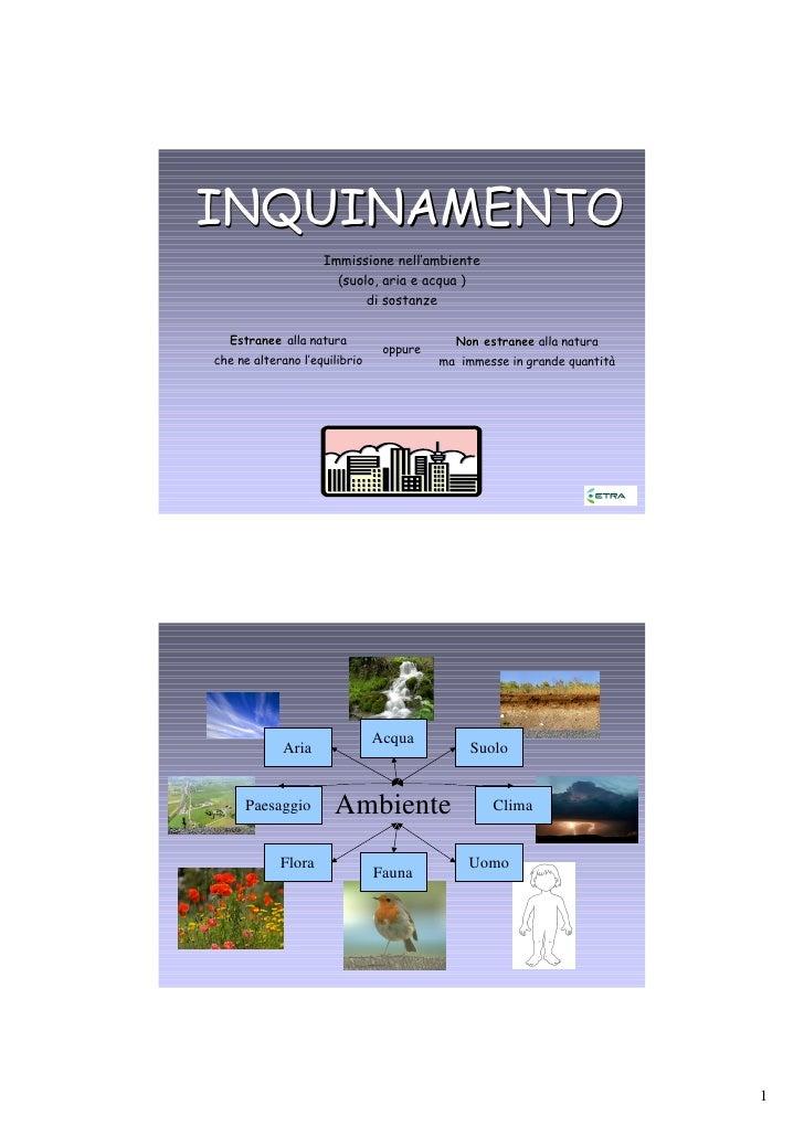 INQUINAMENTO                     Immissione nell'ambiente                       (suolo, aria e acqua )                    ...