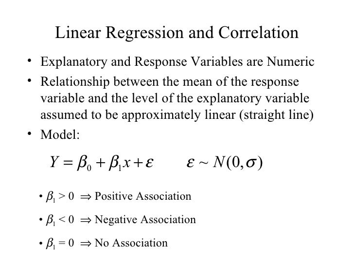 Linear Regression and Correlation• Explanatory and Response Variables are Numeric• Relationship between the mean of the re...