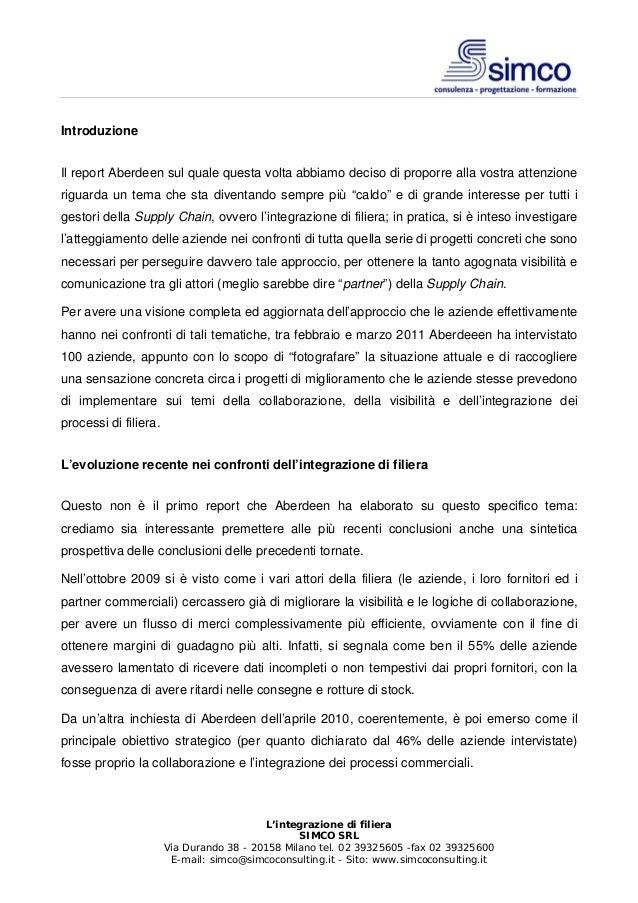 SIMCO: L'integrazione di filiera