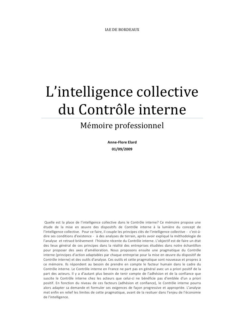 IAE DE BORDEAUX L'intelligence collective   du Contrôle interne                         Mémoire professionnel             ...