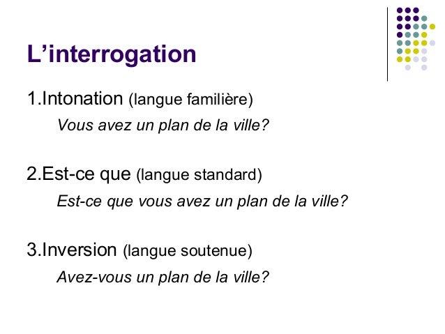 L'interrogation 1.Intonation (langue familière) Vous avez un plan de la ville? 2.Est-ce que (langue standard) Est-ce que v...
