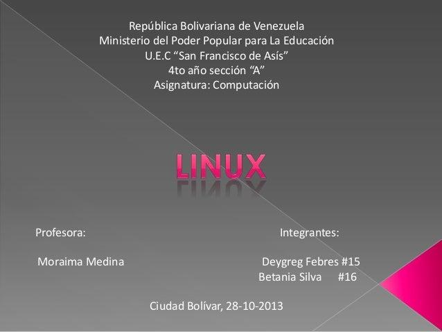 """República Bolivariana de Venezuela Ministerio del Poder Popular para La Educación U.E.C """"San Francisco de Asís"""" 4to año se..."""
