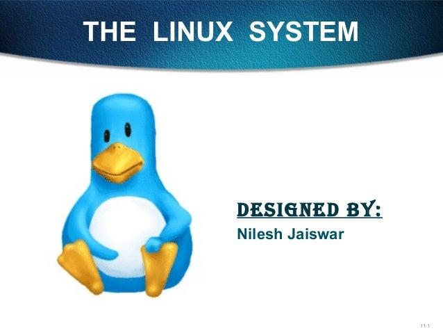 11-1 THE LINUX SYSTEM DesigneD by: Nilesh Jaiswar gdfdgdfdh fhfjdfhjgfh gfgjdfhgjd hffkkfjgkfj