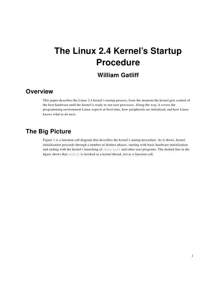 The Linux 2.4 Kernel's Startup                       Procedure                                            William Gatliff ...