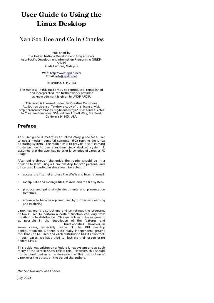 UserGuidetoUsingthe        LinuxDesktop    NahSooHoeandColinCharles                          Published by       ...