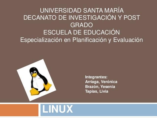UNIVERSIDAD SANTA MARÍA DECANATO DE INVESTIGACIÓN Y POST GRADO ESCUELA DE EDUCACIÓN Especialización en Planificación y Eva...