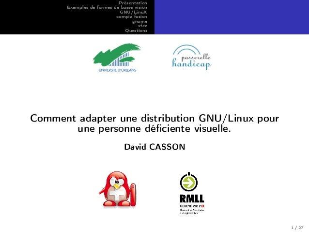 Présentation Exemples de formes de basse vision GNU/LinuX compiz fusion gnome xfce Questions Comment adapter une distribut...