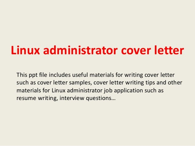 linux system administrator cover letter linux