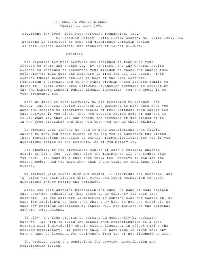 GNU GENERAL PUBLIC LICENSE                   Version 2, June 1991   Copyright (C) 1989, 1991 Free Software Foundation, Inc...