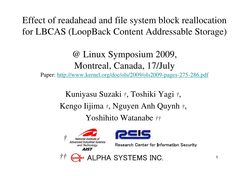 Effect of readahead and file system block reallocation for LBCAS (LoopBack Content Addressable Storage)                   ...