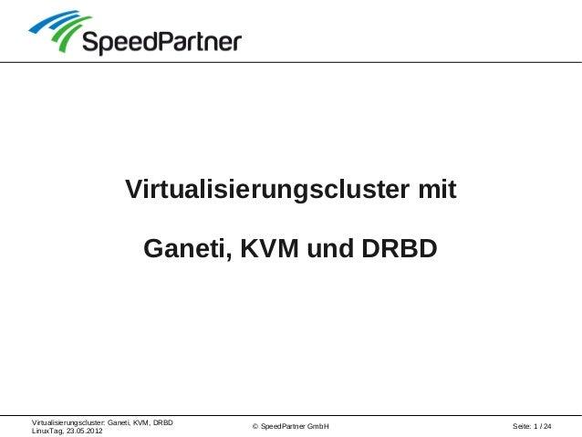 Virtualisierungscluster: Ganeti, KVM, DRBD LinuxTag, 23.05.2012 Seite: 1 / 24© SpeedPartner GmbH Virtualisierungscluster m...