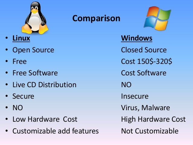 windows vs linux comparison Full comparison of the pros and cons of linux vs windows.