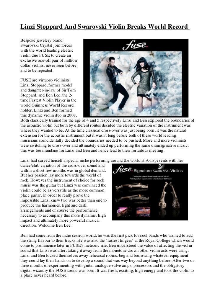 Linzi Stoppard And Swarovski Violin Breaks World RecordBespoke jewelery brandSwarovski Crystal join forceswith the world l...