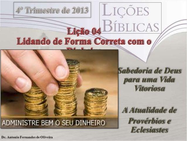 Sabedoria de Deus para uma Vida Vitoriosa A Atualidade de Provérbios e Eclesiastes