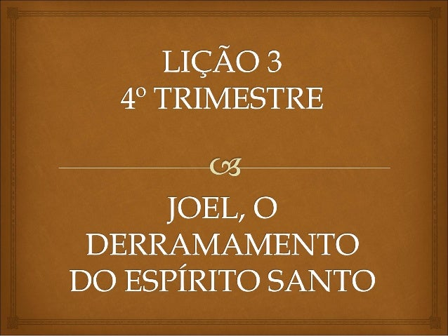Paul Yonggi Cho Messages http://www.slideshare.net/ProfessorErick/lio-3-joel-o-derramamento-do-esprito-santo