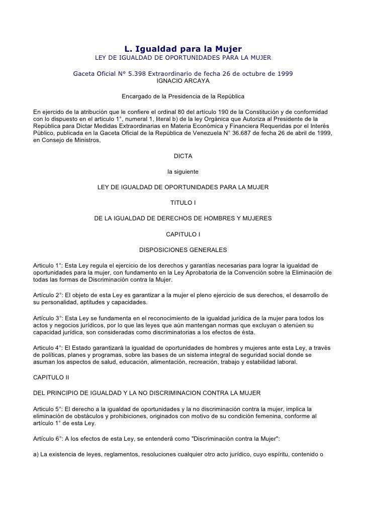 LEY DE IGUALDAD DE OPORTUNIDAD DE LA MUJER