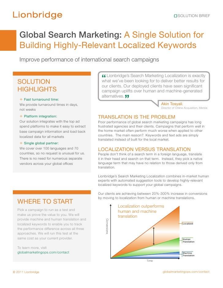 Lionbridge GMO Global Search Marketing Solution Brief
