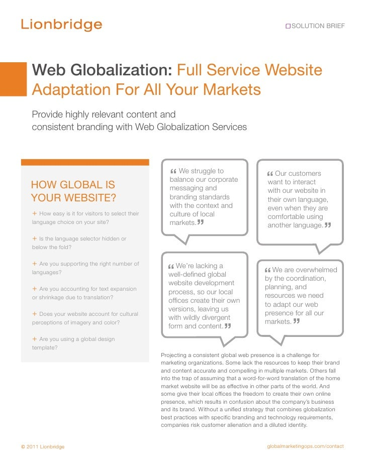 SOLUTION BRIEF    Web Globalization: Full Service Website    Adaptation For All Your Markets    Provide highly relevant co...