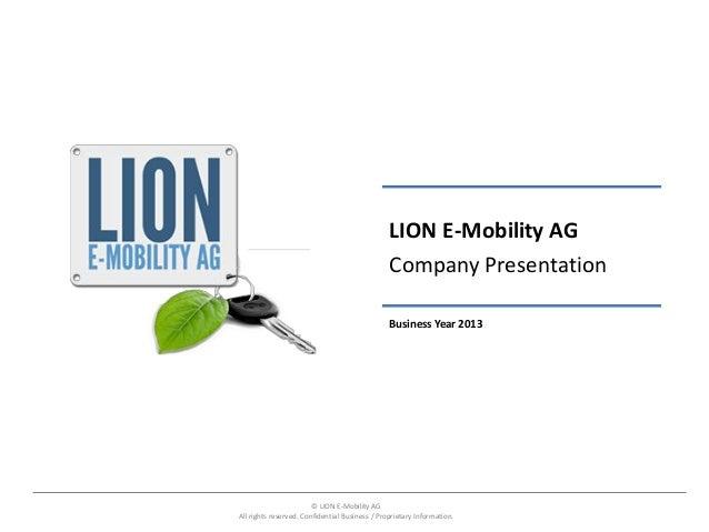 LION E-Mobility AG                                                Company Presentation                                    ...