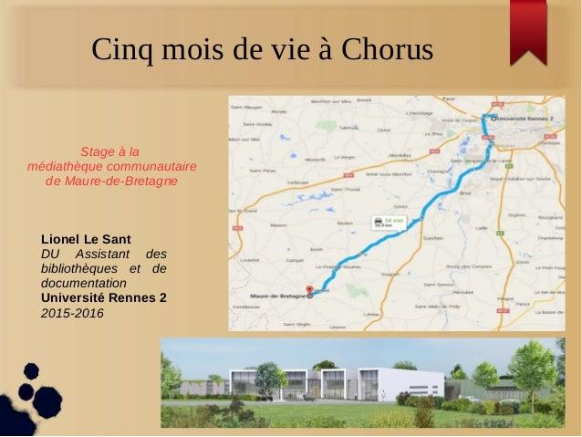 Cinq mois de vie à Chorus Stage à la médiathèque communautaire de Maure-de-Bretagne Lionel Le Sant DU Assistant des biblio...