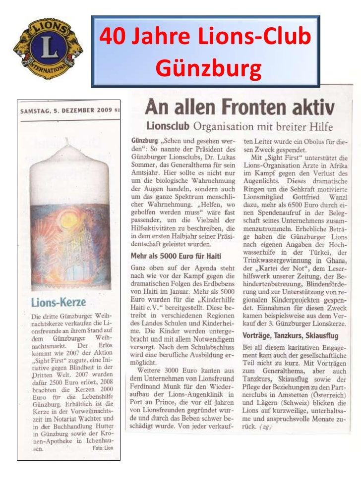 40 Jahre Lions-Club<br />Günzburg<br />
