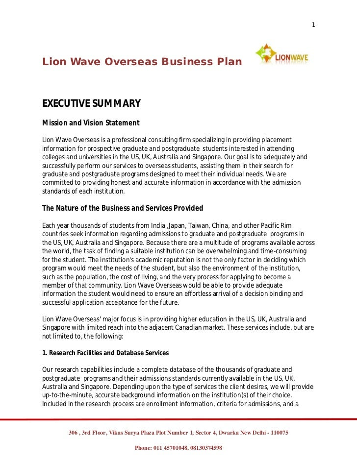 1Lion Wave Overseas Business PlanEXECUTIVE SUMMARYMission and Vision StatementLion Wave Overseas is a professional consult...