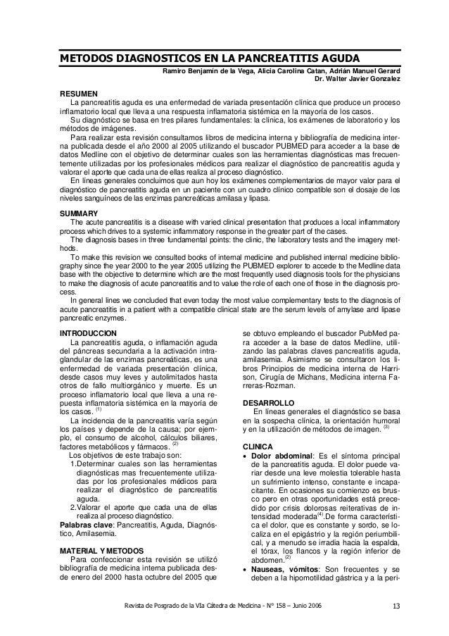 METODOS DIAGNOSTICOS EN LA PANCREATITIS AGUDA                                 Ramiro Benjamín de la Vega, Alicia Carolina ...