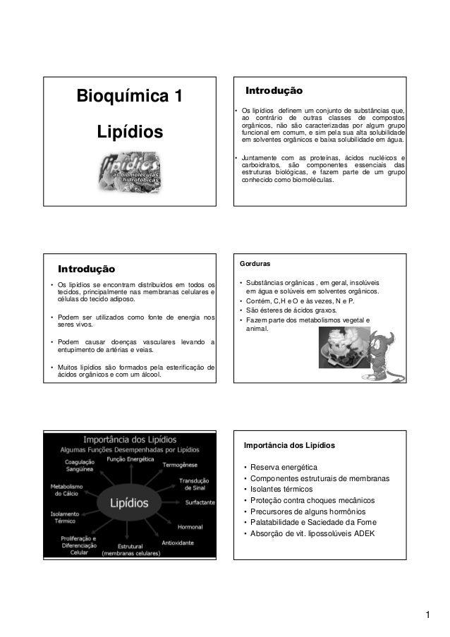 1 Bioquímica 1 Lipídios Introdução • Os lipídios definem um conjunto de substâncias que, ao contrário de outras classes de...