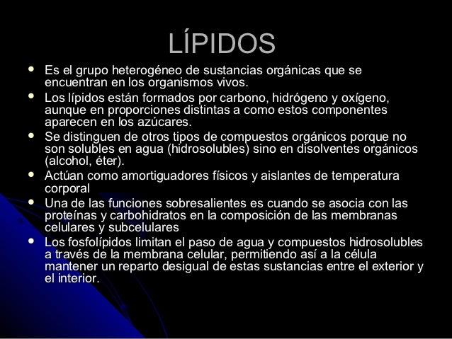 LÍPIDOS   Es el grupo heterogéneo de sustancias orgánicas que se    encuentran en los organismos vivos.   Los lípidos es...