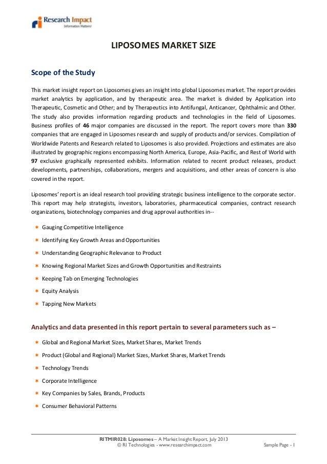 RITMIR028: Liposomes – A Market Insight Report, July 2013 © RI Technologies - www.researchimpact.com Sample Page - 1 LIPOS...