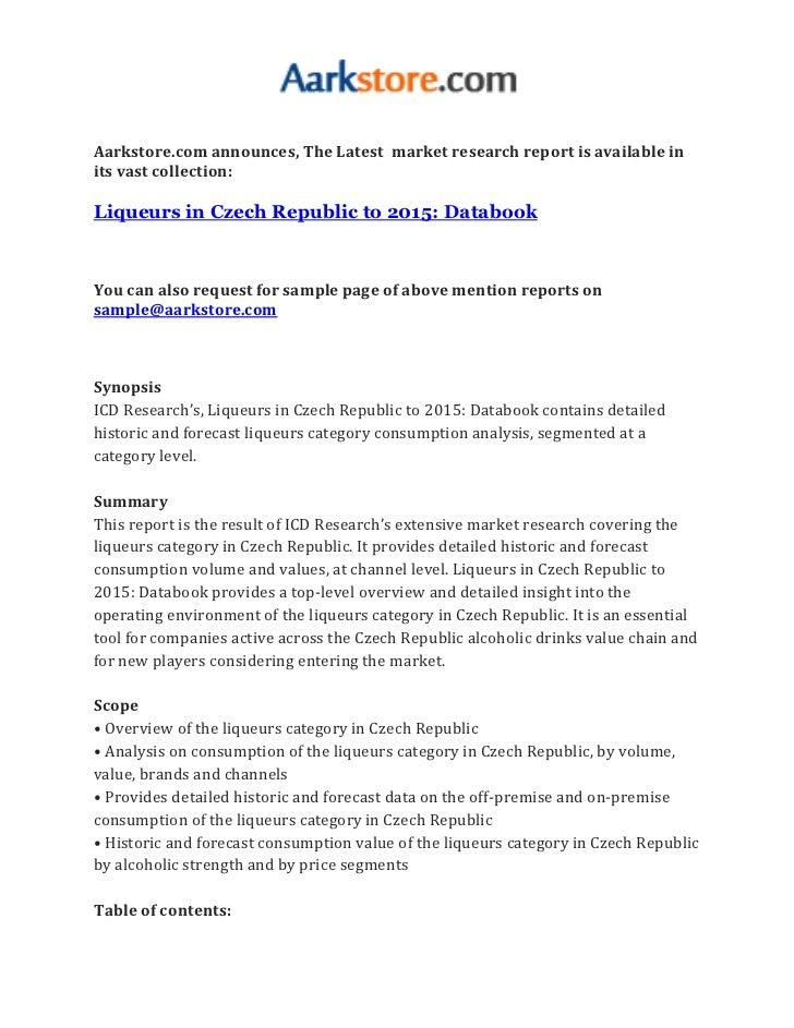 Liqueurs in czech republic to 2015 databook