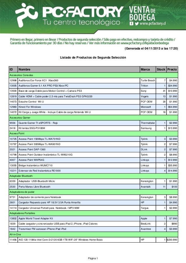 (Generada el 04/11/2013 a las 17:20) Listado de Productos de Segunda Selección  ID  Nombre  Marca  Stock Precio  Accesorio...