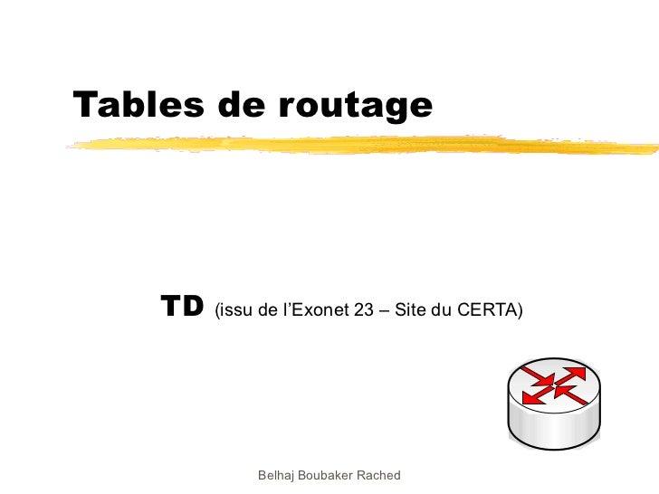 Tables de routage TD  (issu de l'Exonet 23 – Site du CERTA) Belhaj Boubaker Rached