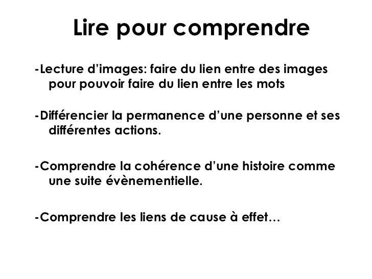 Lire pour comprendre-Lecture d'images: faire du lien entre des images  pour pouvoir faire du lien entre les mots-Différenc...