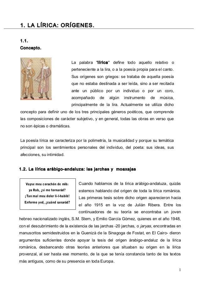 """1. LA LÍRICA: ORÍGENES. 1.1. Concepto. La palabra """"lírica"""" define todo aquello relativo o perteneciente a la lira, o a la ..."""