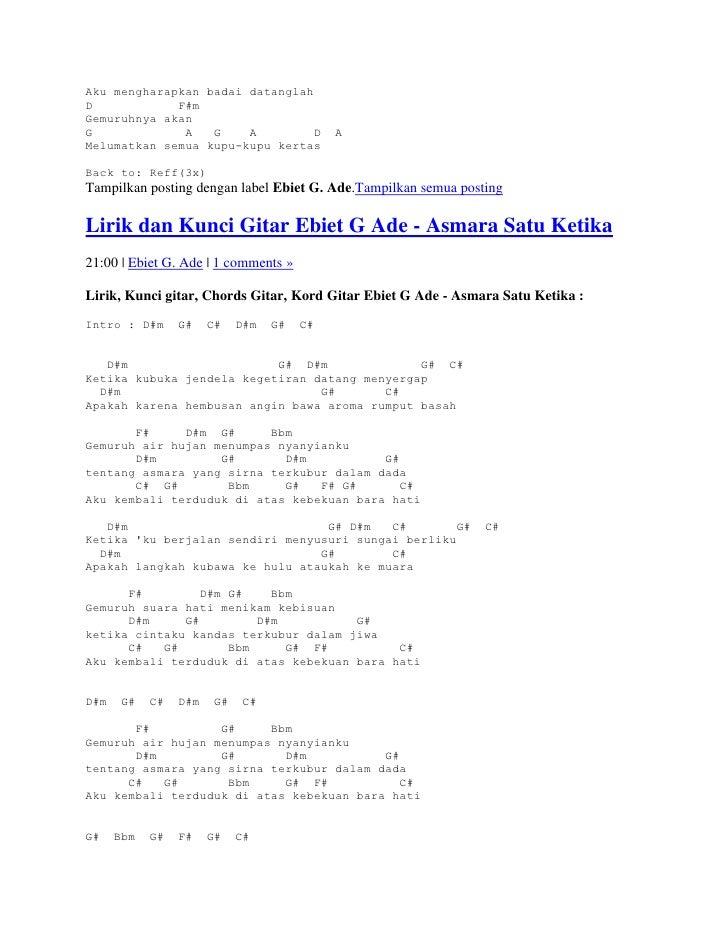 Chord Kunci Gitar Berita Kepada Kawan - Ebiet G. Ade - Not