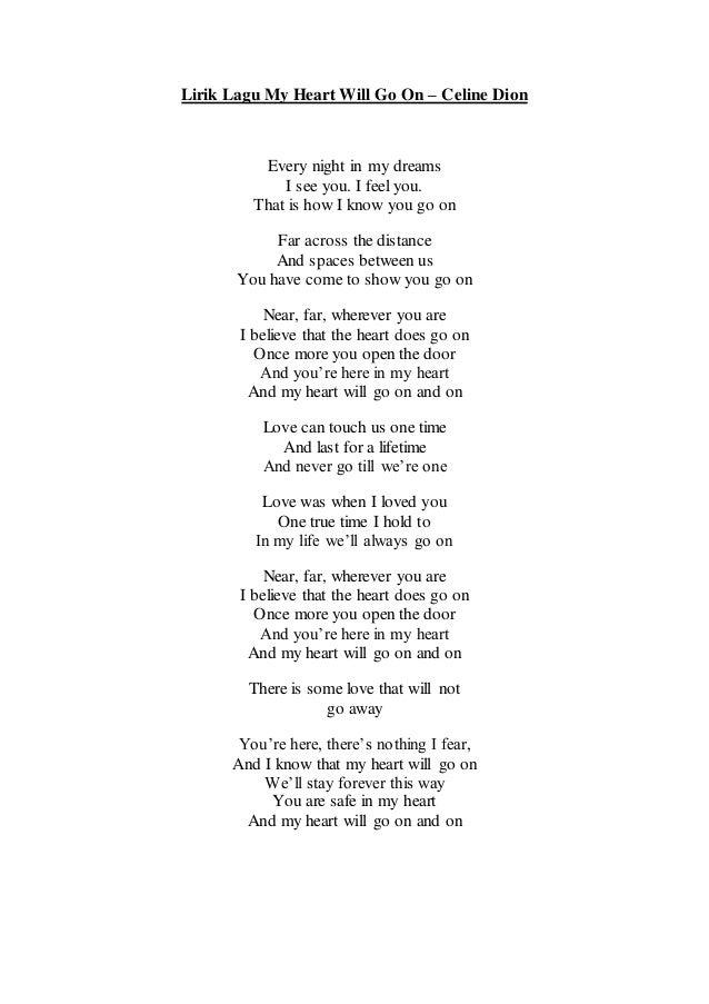 My Heart Will Go On Lyrics by Celine Dion