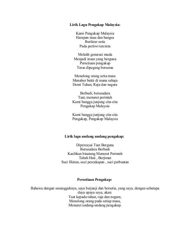 Lirik Lagu Pengakap Malaysia: Kami Pengakap Malaysia Harapan nusa da ...