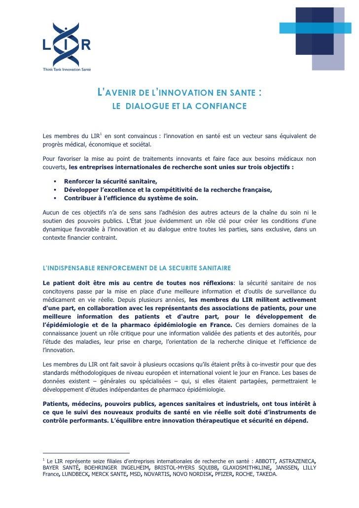 L'AVENIR DE L'INNOVATION EN SANTE :                           LE DIALOGUE ET LA CONFIANCELes membres du LIR1 en sont conva...
