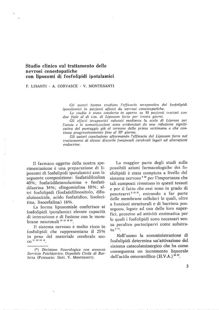 Studio clinico sul trattamento delle nevrosi cenestopatiche con liposomi di fosfolipidi ipotalamici